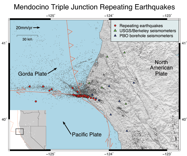Map showing earthquakes and faults at Mendocino Triple Junction