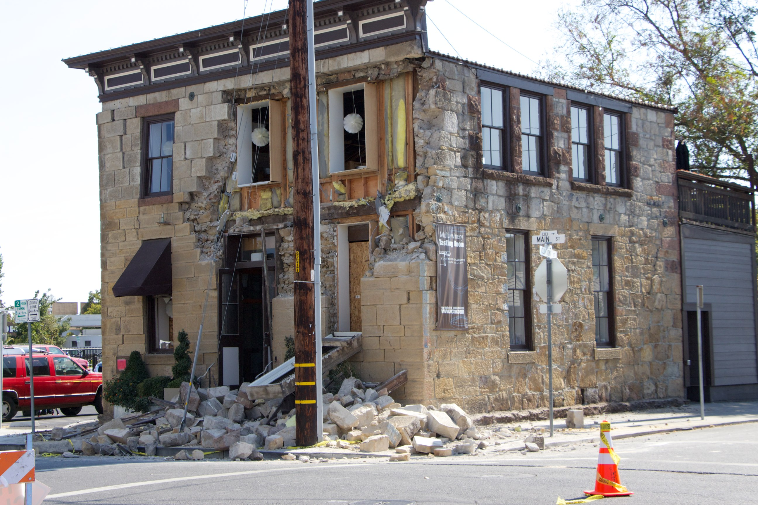 Stones on floor from face of building after 2014 Napa Quake