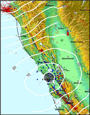 "How much warning time will you have? The lines on this map show warning times for San Francisco for major earthquakes at other locations, and quickly detected by an early warning system. The gray area marks the ""blind zone."" There will be no warning for earthquakes in this area."