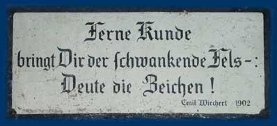 Inscription on the entrance to the G&ouml;ttingen University earthquake station (Photo by Horst Rademacher)