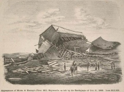 Drawing showing damage to flour mill after 1868 earthquake.