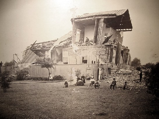 Photo showing damage to Alameda County Courthouse Library in San Leandro after 1868 earthquake.