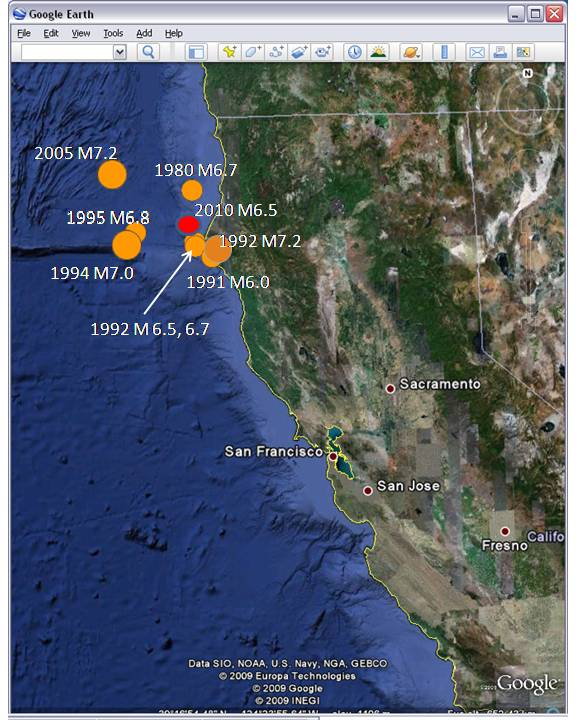 Map of Cape Mendocino Seismicity