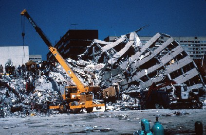 Figure 2: Fifteen-story reinforced concrete structure. Part of the building was only slightly damaged, while another part of it collapsed. Photo Mehmet Celebi, USGS
