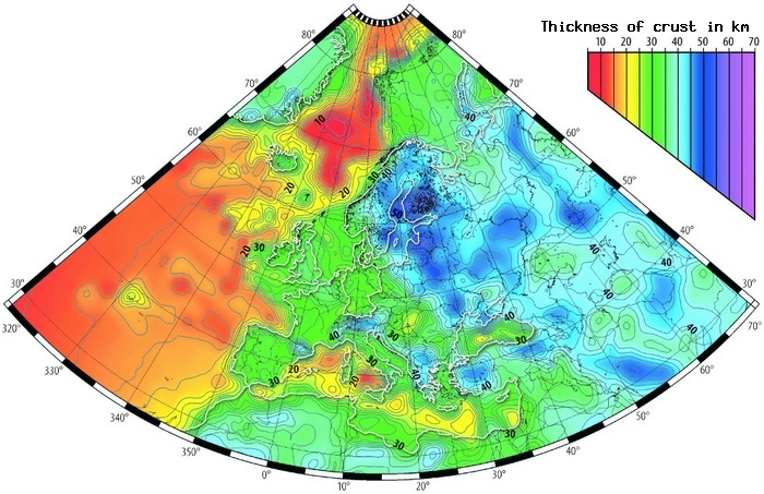 Thickness of the Earth's crust under Europe (Source: Geophysical Institute of the University of Warsaw and the Geological Institute of the University of Helsinki)