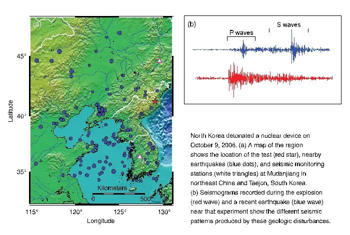 Map of the region showing the location of the test, nearby earthquakes, and seismic monitoring stations as well as seismograms of the explosion and a recent earthquake.