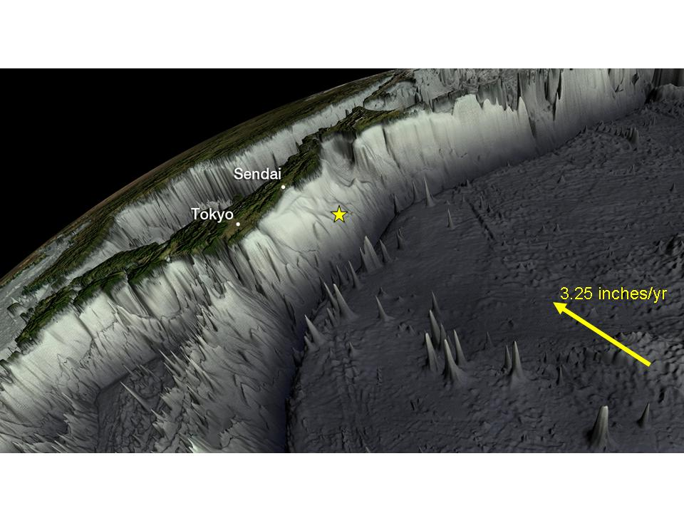 Figure 1: If you take away the water of the Northwestern Pacific, this is how the  sea floor would look. In its move westward, the Pacific Plate slams into what looks  like a wall. That is the Eastern edge of the Eurasian Plate. The yellow star  denotes the location of the epicenter. (Source: NOAA)