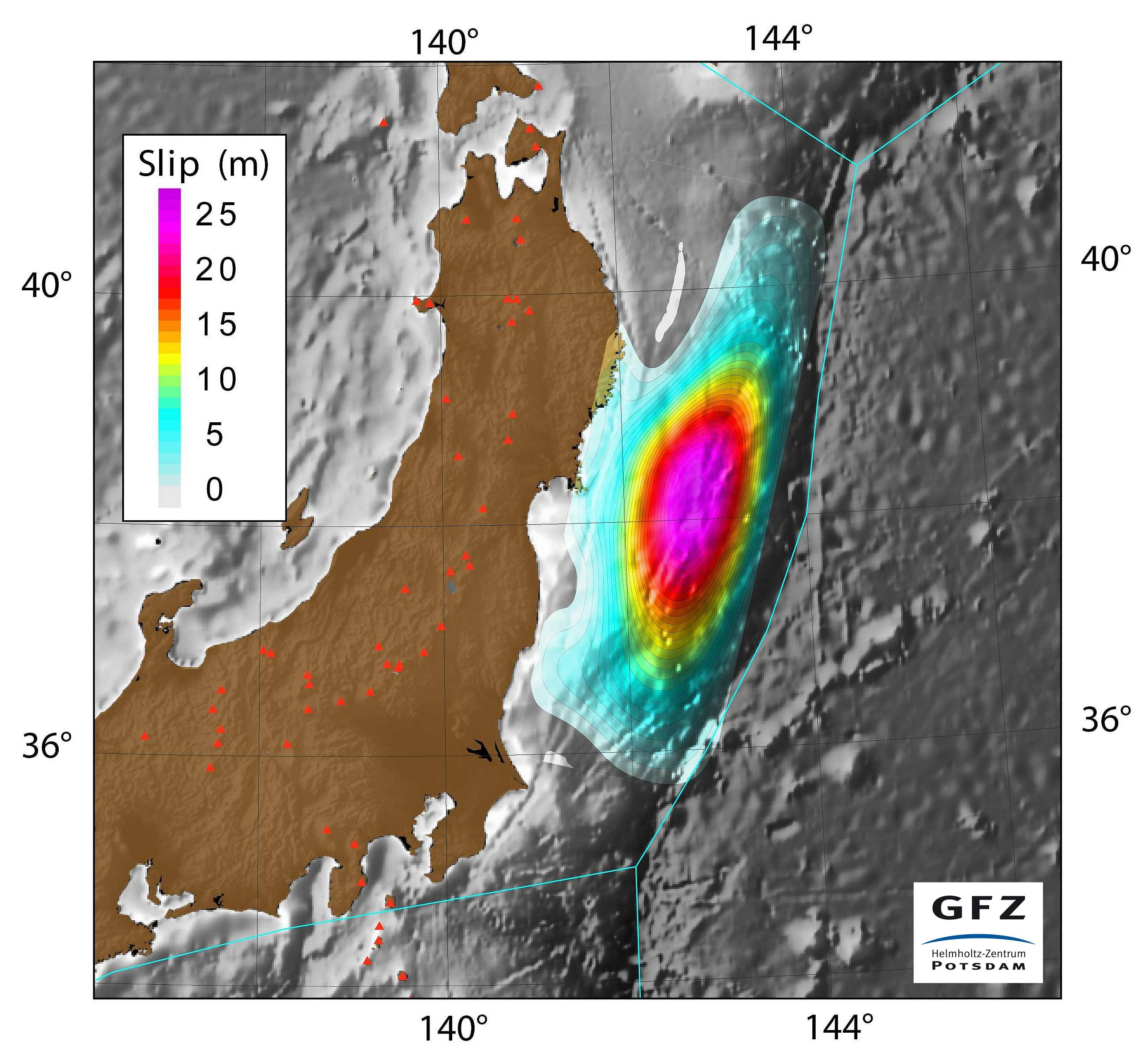 Figure 2: The rupture region (colored area) of Friday's quake may have been as large as the state of West Virginia. At the center of the area, the plates may have jumped passed each other by more than 25 meters. (Source: GFZ-Potsdam)