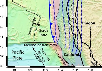 Map of the Mendocino Triple Junction.