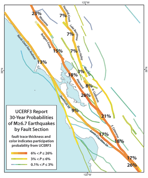 Figure showing map of bay area with earthquake probabilities.