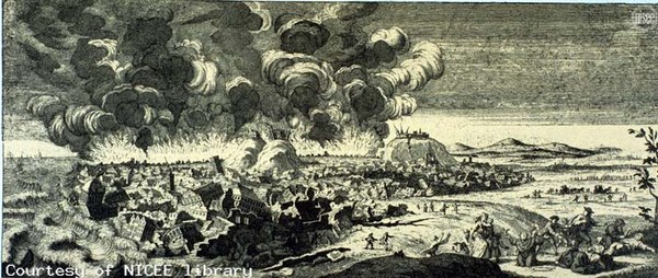 Copper engraving of the aftermath of the Lisbon earthquake.
