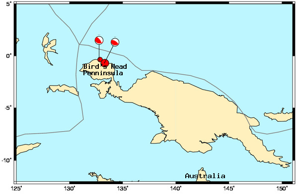 Map showing Sunday's two large earthquakes on the Bird's Head Penninsula in West Irian Jaya.
