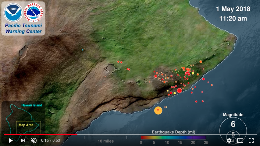 Map of big island of Hawaii with different colored dots representing earthquakes.