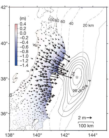 The black arrows show how far the East coast of Honshu moved during the Tohoku earthquake in March 2011. Some sections (longest arrows) shifted more than ten yards (Source: Ozawa et al., 2011, Nature, doi:10.1038/nature10227)