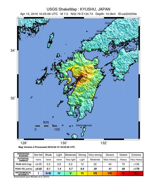 Map showing shaking from Kumamoto quake.