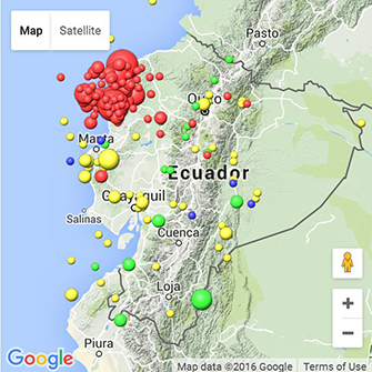 Map showing location of Equador quake and its aftershocks.