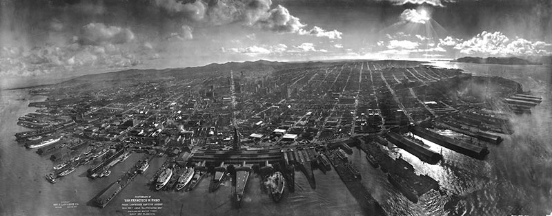 Historical photo taken from an airship showing the city in ruins.