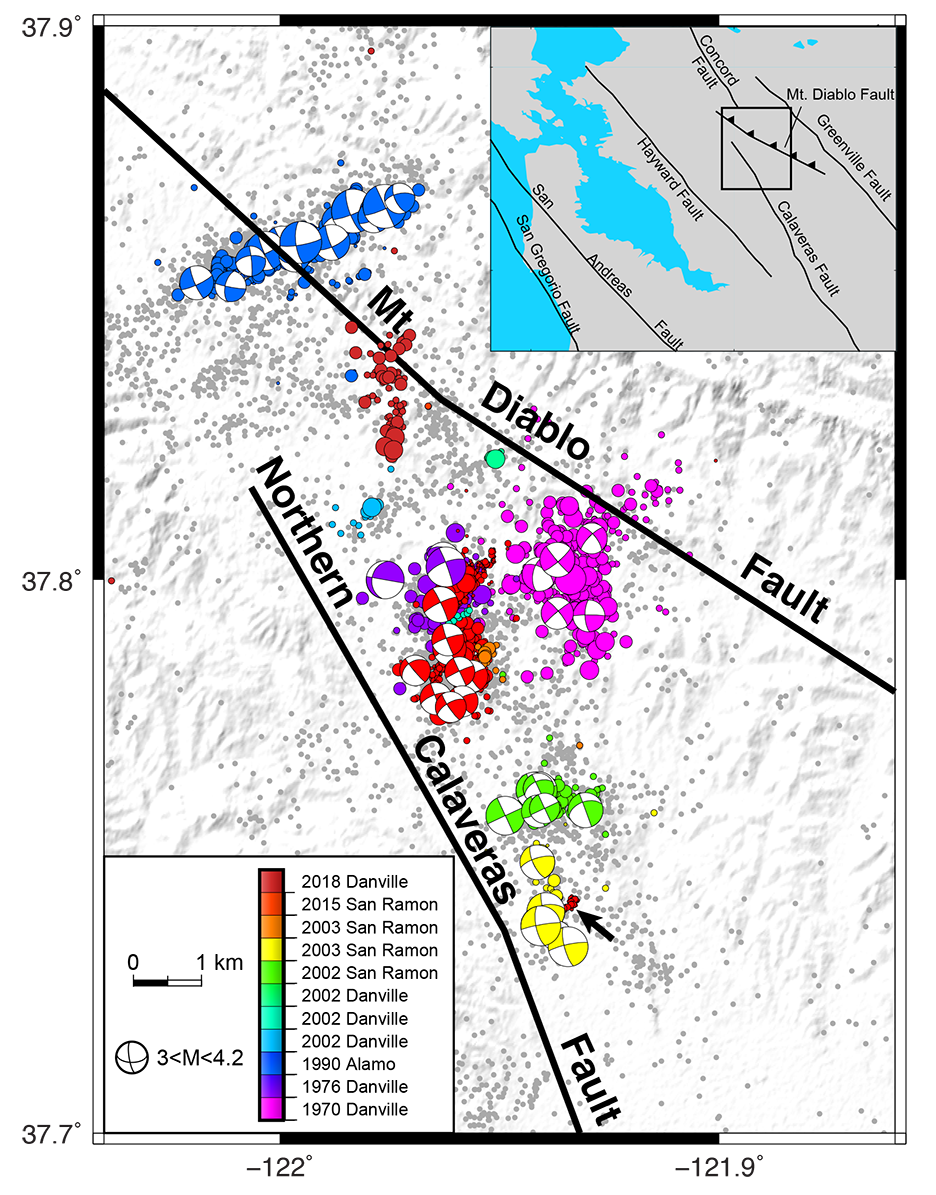 Map showing locations and mechanisms of quakes near San Ramon