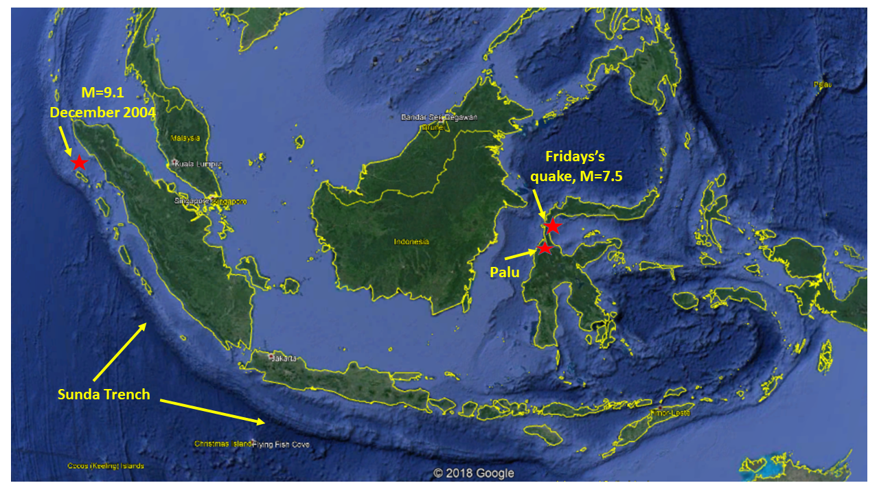 Map of Indonesia with location of Friday's quake and 2004 megaquake.