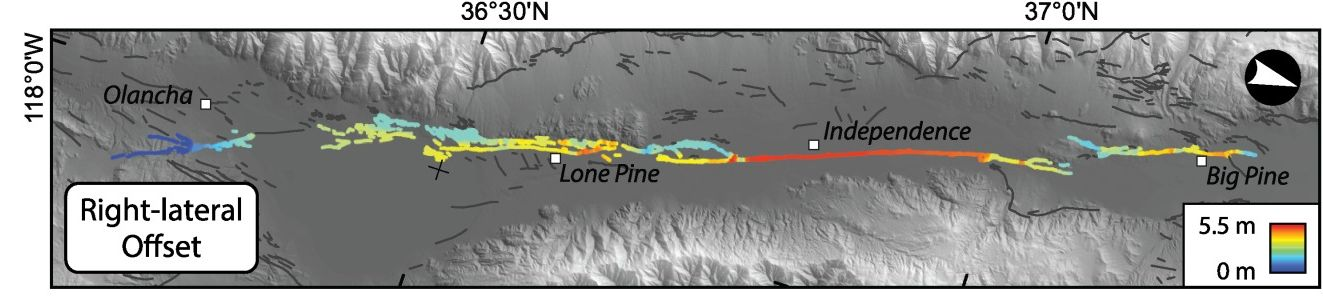 Map showing earthquake slip from Olancha to Big Pine
