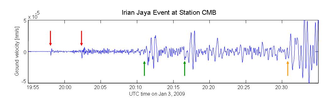 Recording of an earthquake in Indonesia.