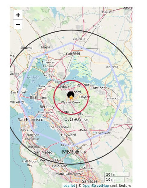 Map showing warning time circles for Pleasant Hill quake