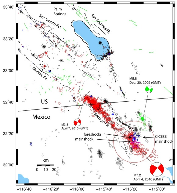 Figure 2: A map of the aftershocks, after E. Hauksson (Caltech).
