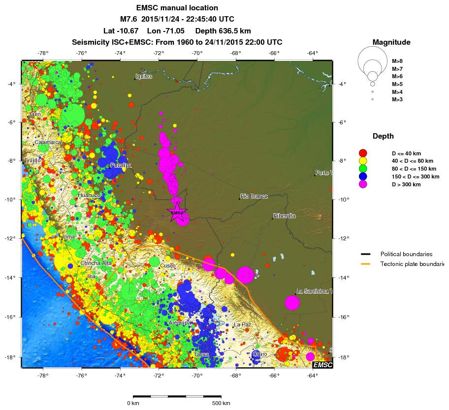 Map of seismicity in Peru