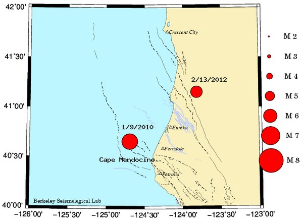 Map of Cape Mendocino region showing today's M 5.6 quake and the M 6.5 quake of January 2010.