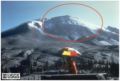 Photo showing the giant bulge on Mount St. Helens, about a week before the eruption (Photo: USGS)