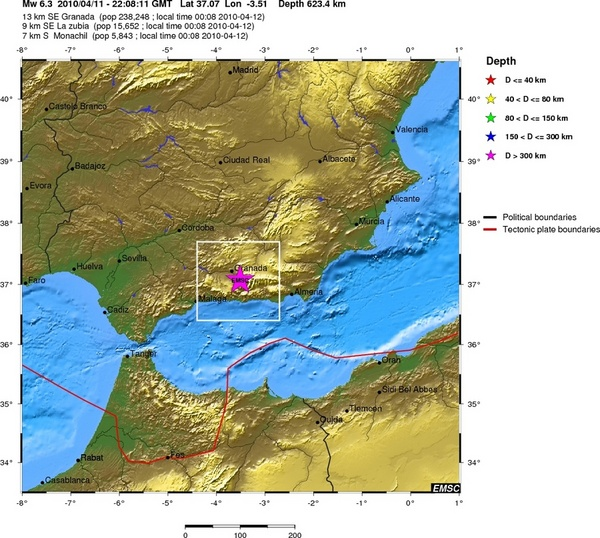 Map showing location of quake in Spain.