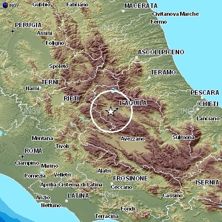 Map showing earthquake location in Central Italy.