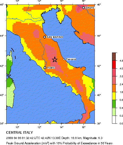 Color coded map of Italy showing seismic hazard.