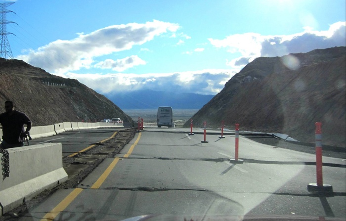Picture showing the newly created staircase in Mexico's Highway 2 (from Southern California Seismic Network's webpage).
