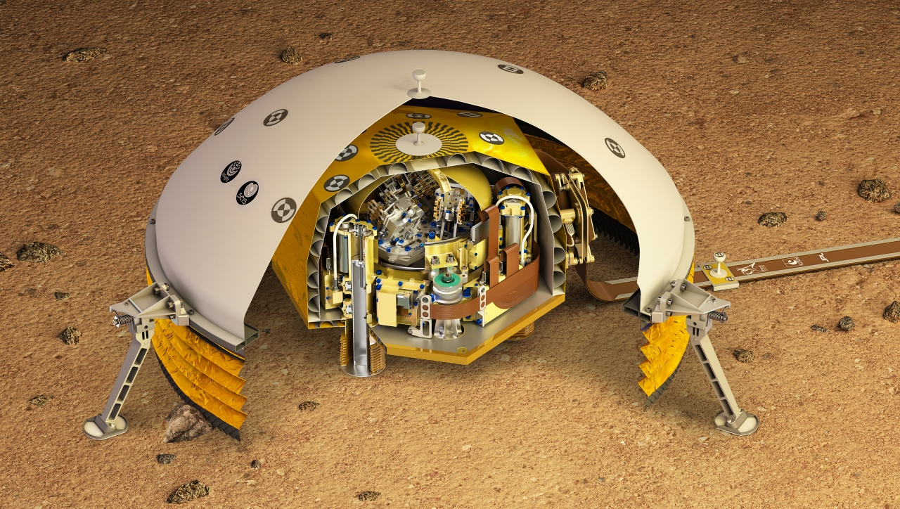 A cut-through illustration of the Mars seismometer.