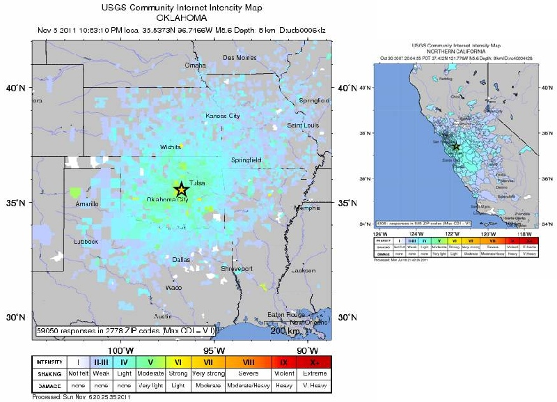 Drawn on the same scale, the left panel shows the shake area of last Saturday's Oklahoma scale. It is almost six times as large as the area where shaking was felt from the Alum Rock earthquake, which occured in 2007 near San Jose (right panel) Both quakes have very similar magnitudes. (Source: Did you feel it?)