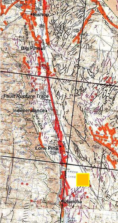 Map showing location of recent Owens Valley earthquakes.