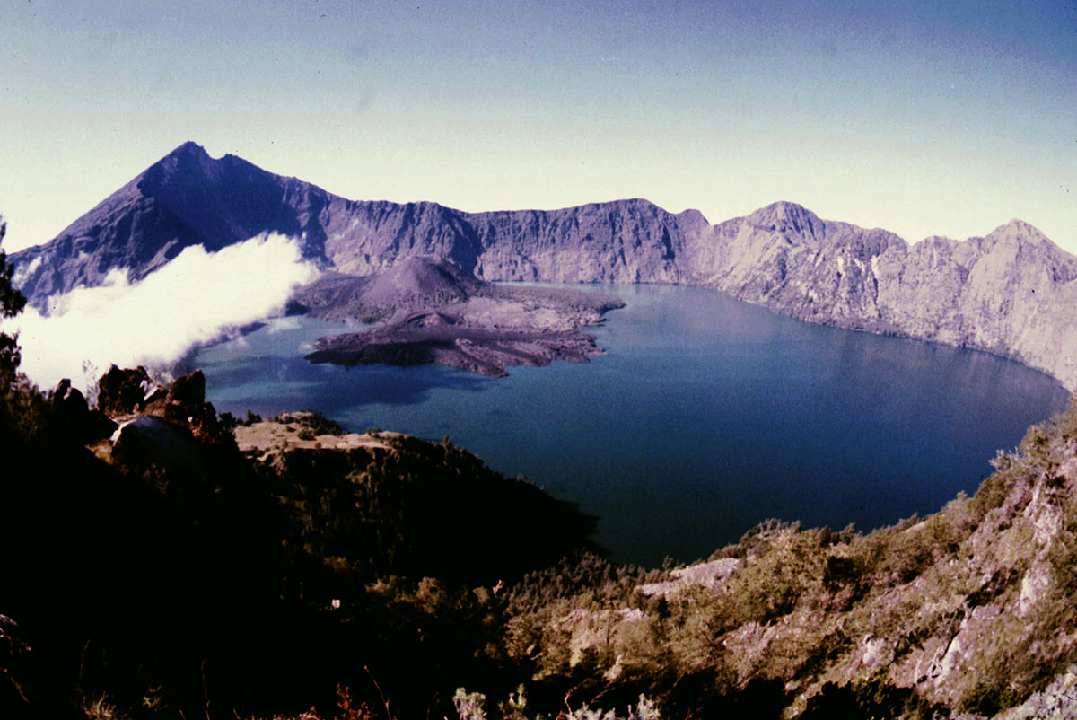 Photo of lake in mountain crater