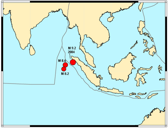 Map showing, in red, epicenters of the M 8.6 and M 8.2 earthquakes of April 11 alongside the epicenter of the M 9.2 earthquake of 2004.