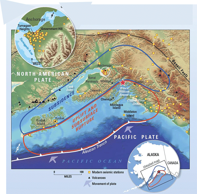 Today in earthquake history alaska 1964 map of alaska subsidence and uplift gumiabroncs Images