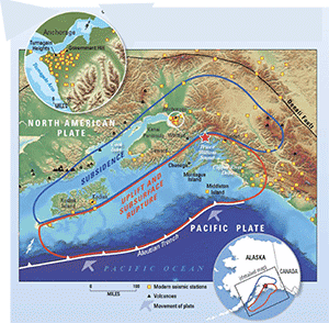 Map of Alaska subsidence and uplift