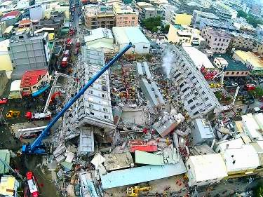 Collapsed apartment buildings in Tainan