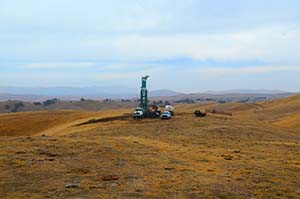 Drilling rig in the remote landscape