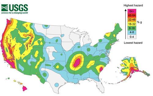 Earthquake hazard map of the United States.
