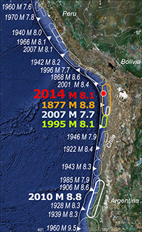 Historical earthquakes in Chile