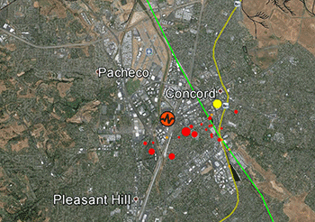 Map of Concord seismicity