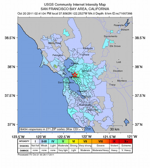 Community Internet Intensity Map for October 20 M4.0 Berkeley earthquake.