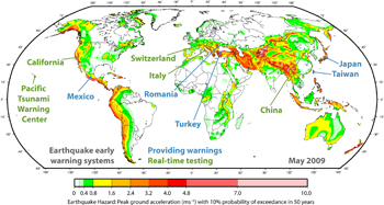 Earthquake early warning systems throughout the world