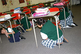 Children under their desks.