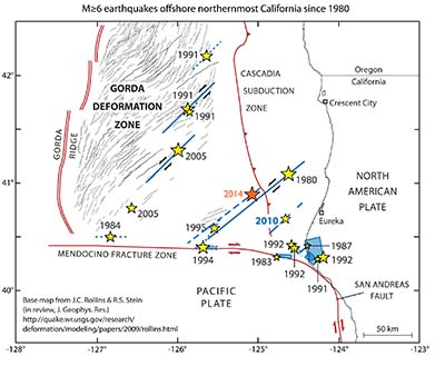 map of northern california and its faults